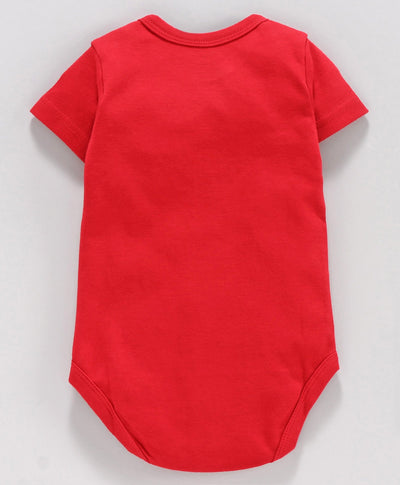 Half Sleeves Onesies- Dog, Bone and Ball- Red- Unisex