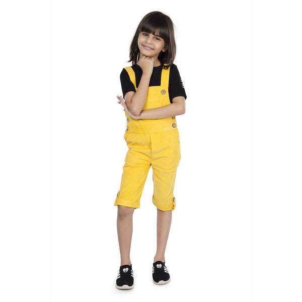 5573a9d4e82 Olele® Butter Yellow Corduroy Dungaree with Bottom Loop for Girls