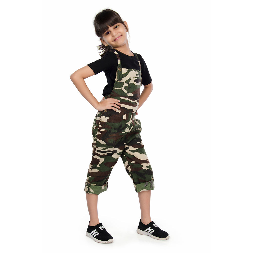 9adeec01c2 Olele® Army / Military Print Camouflage Dungaree Set with Black T-Shirt  Combo for