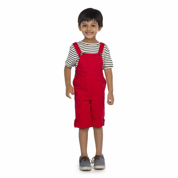 Olele® Red Cotton Blend Dungarees for Boys