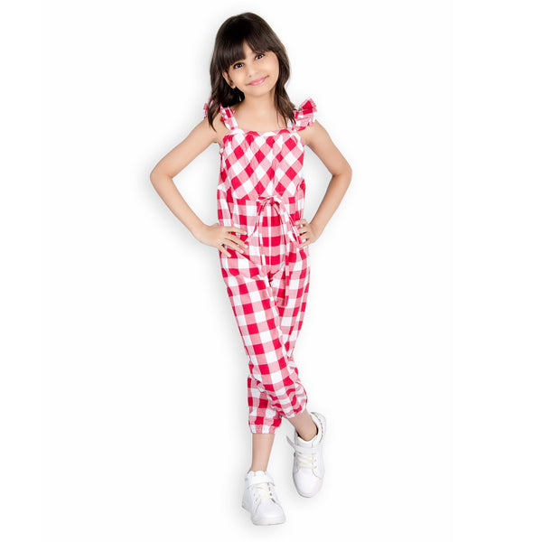 Olele® Girls Red and White Checkered Ruffle Jumpsuit