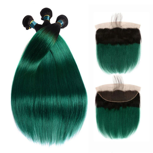 Dark Green Bundles With Frontal Green Straight Human Hair Dark Roots