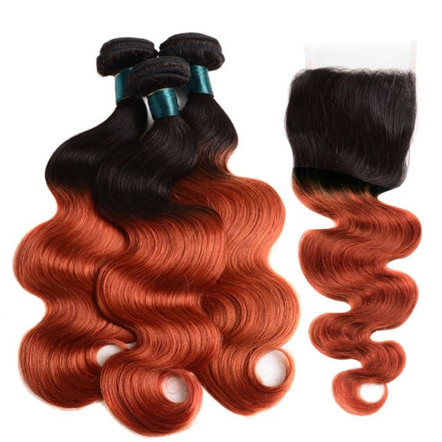 Sulmy 3 Bundles With Closure 1b 350 Burnt Orange Ombre Body wave Brazilian Hair Weave.