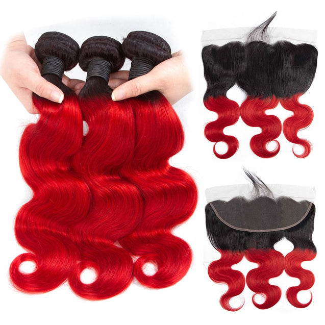 Sulmy 3 Bundles With Frontal Closure 1b Red Ombre Body Wave Brazilian Hair Weave ombre hair weave SULMY