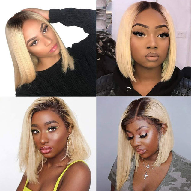 1b 613 Blonde Bob Lace Front Wig Colored Short Ombre Human Hair Wigs -SULMY.