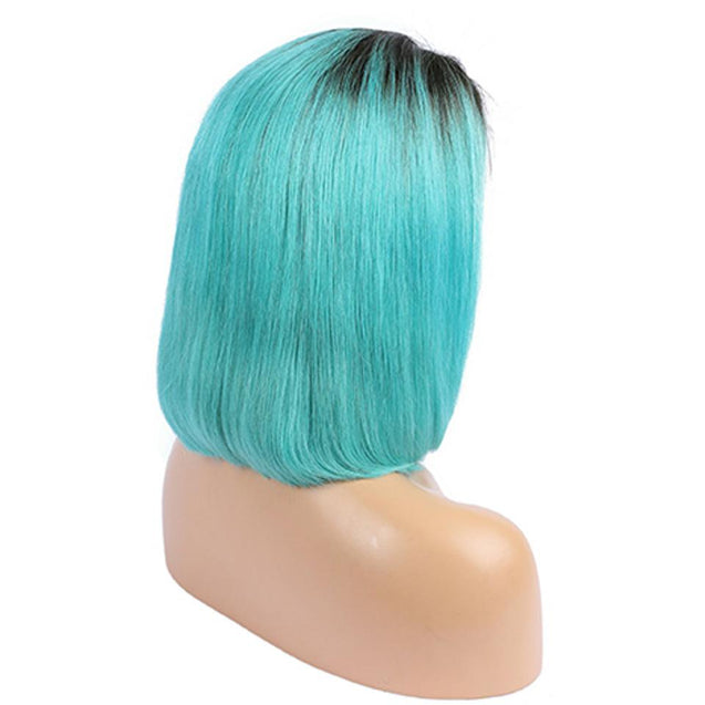 Blue Ombre Bob Lace Front Wig 1b Blue Colored Short Human Hair Wigs -SULMY.