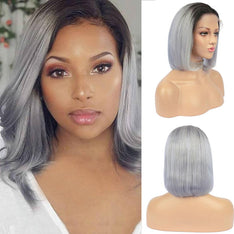 Grey Ombre Bob Lace Front Wig 1b Grey Colored Short Human Hair Wigs -SULMY.