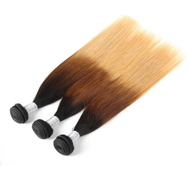 Sulmy 3 Bundles 1b #4 #27 Three Tone Colored straight Ombre Brazilian Human Hair Weave.