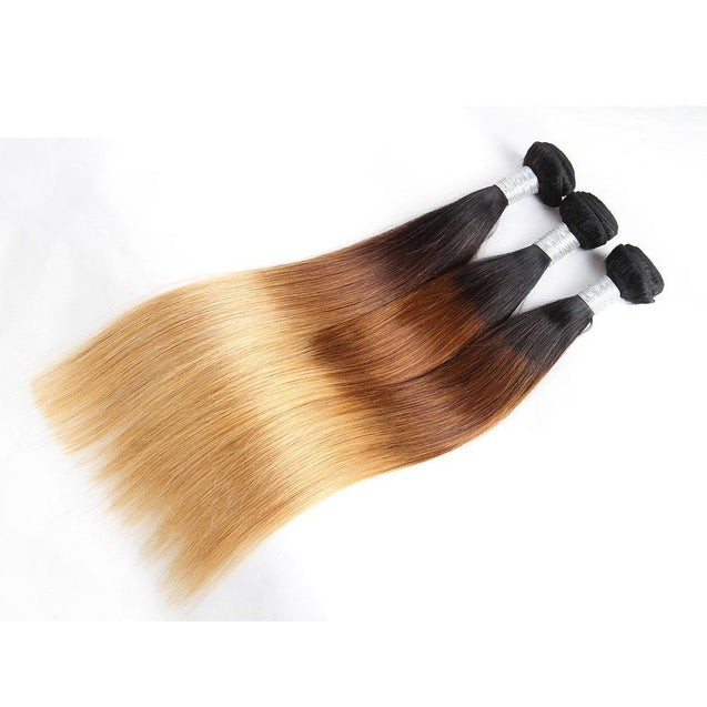 Sulmy 3 Bundles With Closure 1b #4 #27 Ombre straight Brazilian Hair Weave.