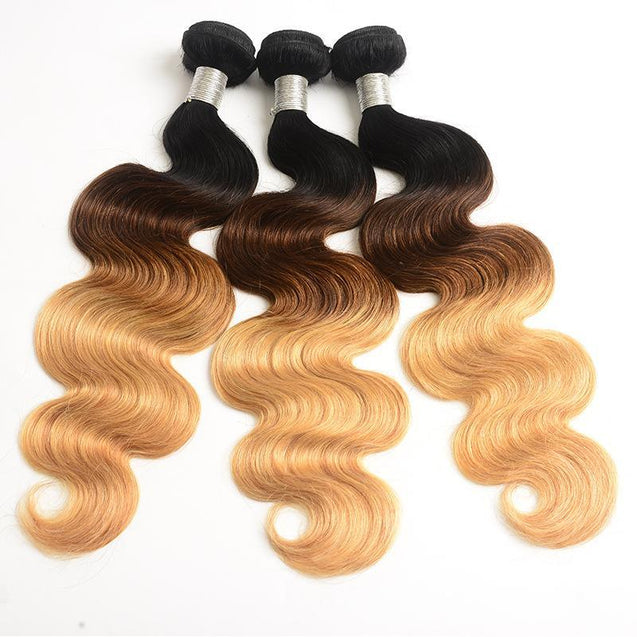 Sulmy 3 Bundles With Frontal Closure 1b #4 #27 Ombre body wave Brazilian Hair Weave.