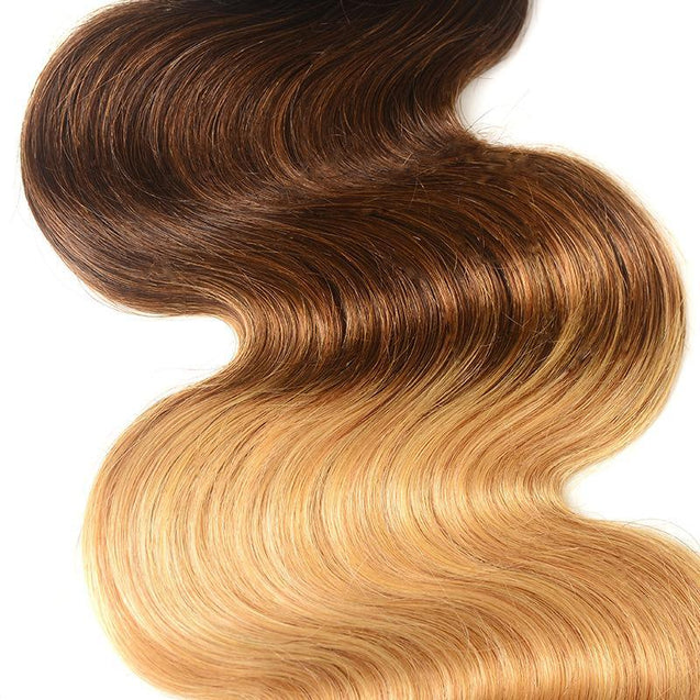 Sulmy 3 Bundles With Closure 1b #4 #27 Ombre body wave Brazilian Hair Weave.