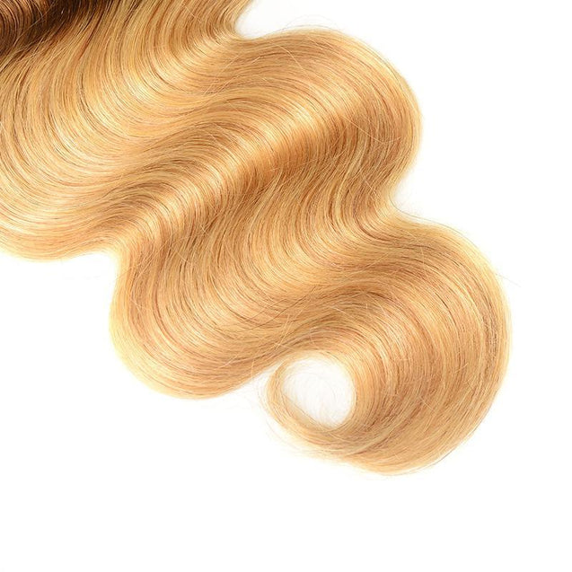 Sulmy 3 Bundles 1b #4 #27 Three Tone Colored body wave Ombre Brazilian Human Hair Weave.