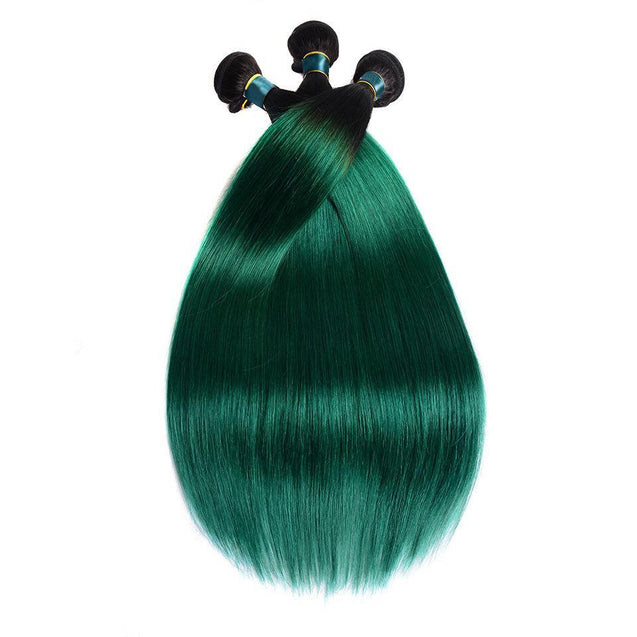 Sulmy 3 Bundles With Closure 1b Green Ombre Straight Brazilian Hair Weave ombre hair weave SULMY