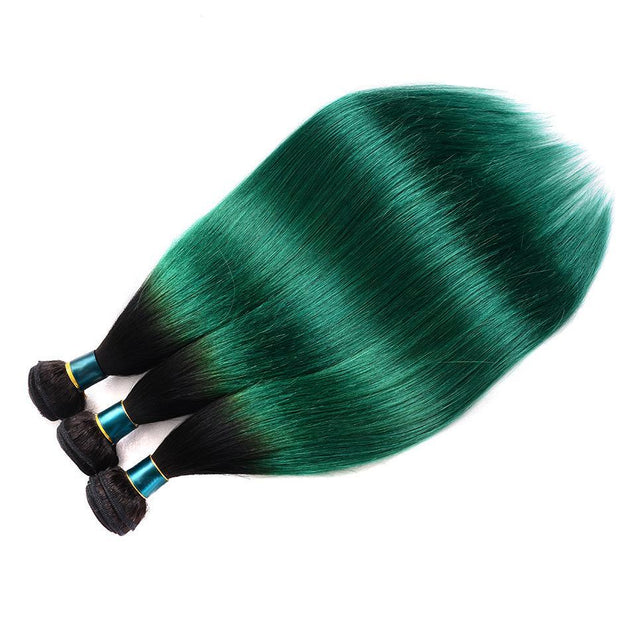 Dark Green Bundles With Closure Green Straight Human Hair Dark Roots
