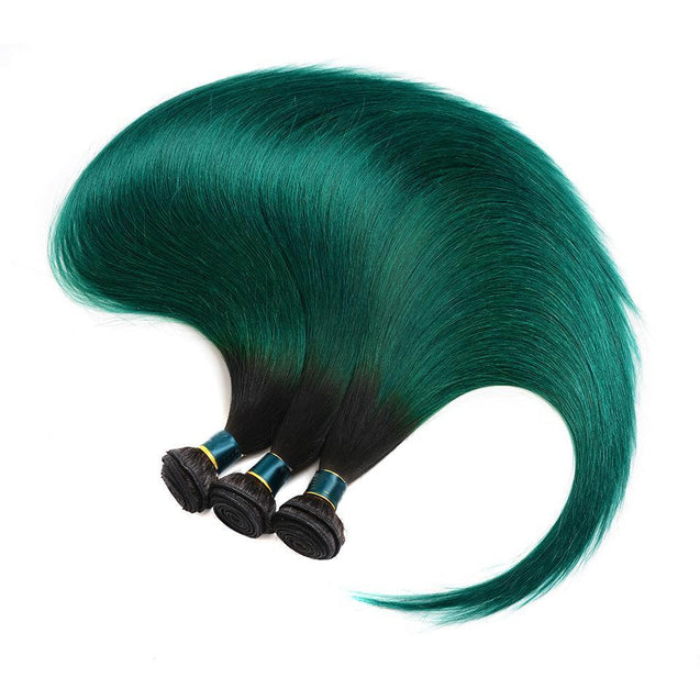 Sulmy 3 Bundles With Frontal Closure 1b Green Ombre Straight Brazilian Hair Weave ombre hair weave SULMY