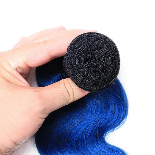 Sulmy 1 Bundle 1b/Blue Two Tone Colored Body wave Ombre Brazilian Human Hair Weave ombre hair weave SULMY