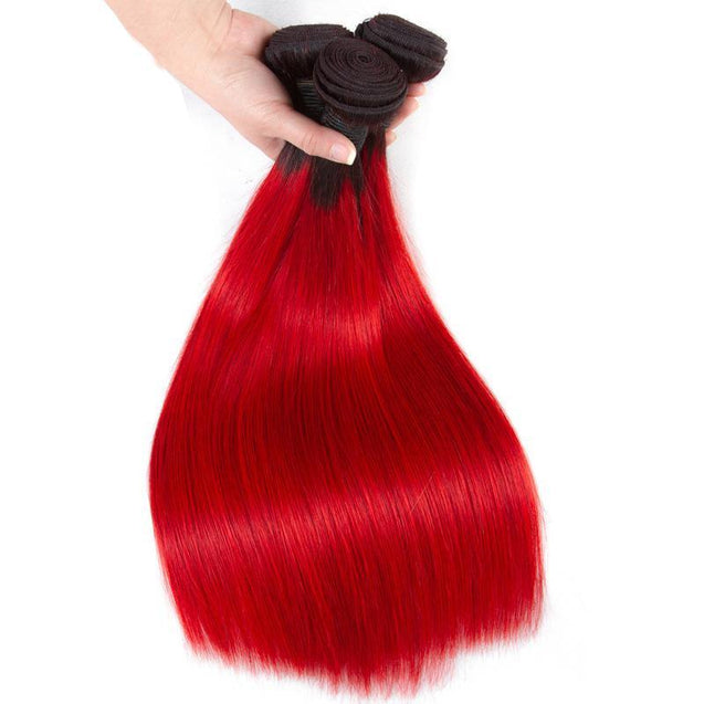 Red Bundles With Closure Straight Bright Red Human Hair Dark Roots