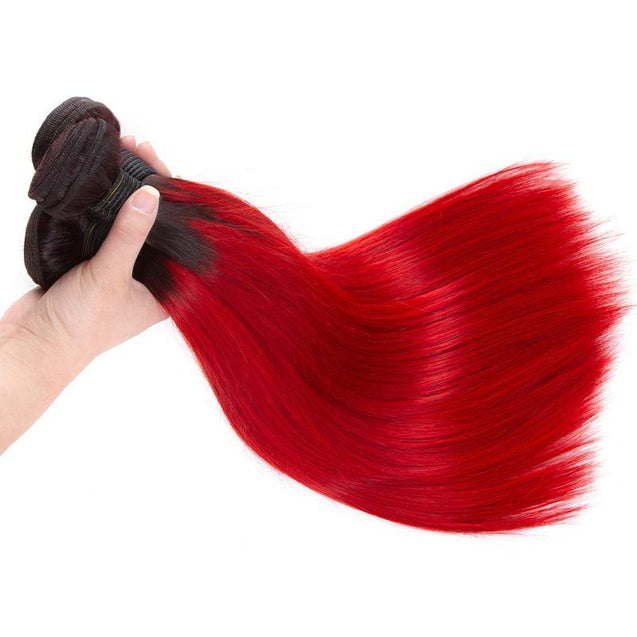 Blood Red Human Hair Bundles Straight Dark Roots