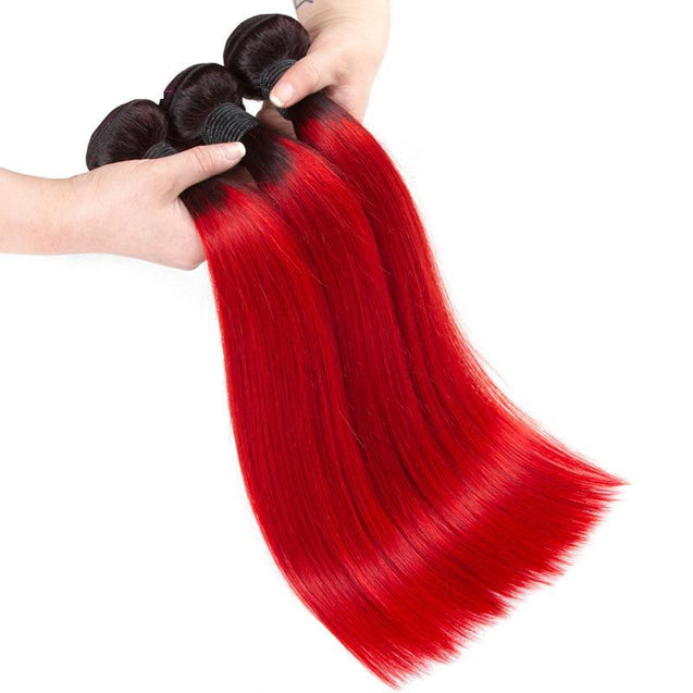 Sulmy 3 Bundles With Frontal Closure 1b Red Ombre Straight Brazilian Hair Weave ombre hair weave SULMY