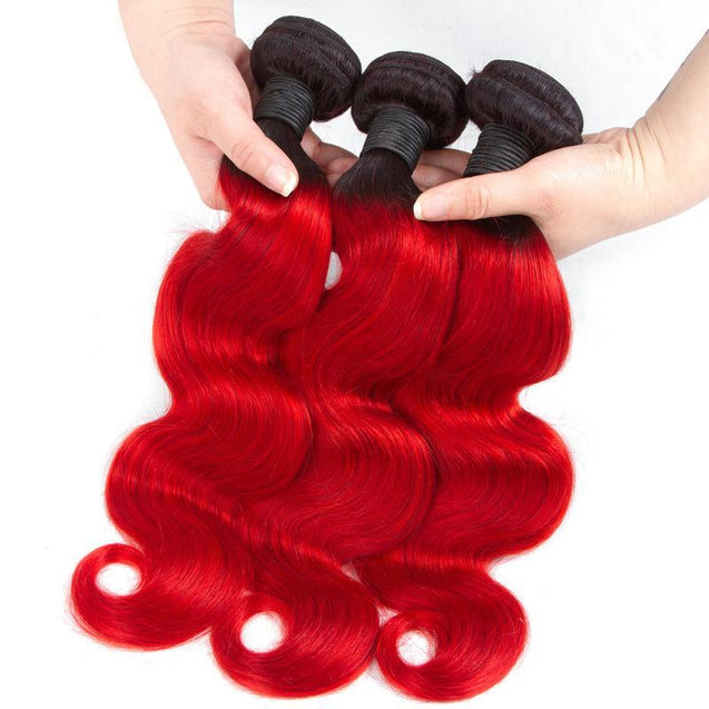 Red Human Hair Bundles Body Wave Dark Roots