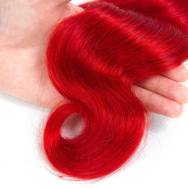 Red Hair Bundles Ruby Red Body Wave Human Hair Weave