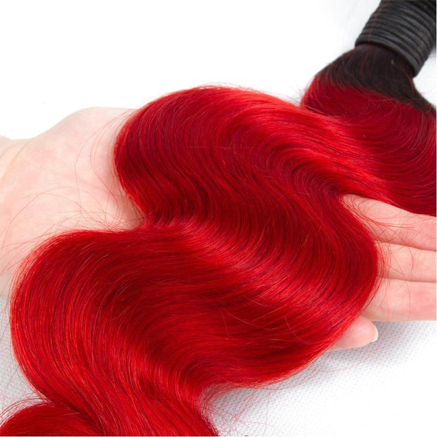 Sulmy 3 Bundles 1b/Red Two Tone Colored Body Wave Ombre Brazilian Human Hair Weave ombre hair weave SULMY
