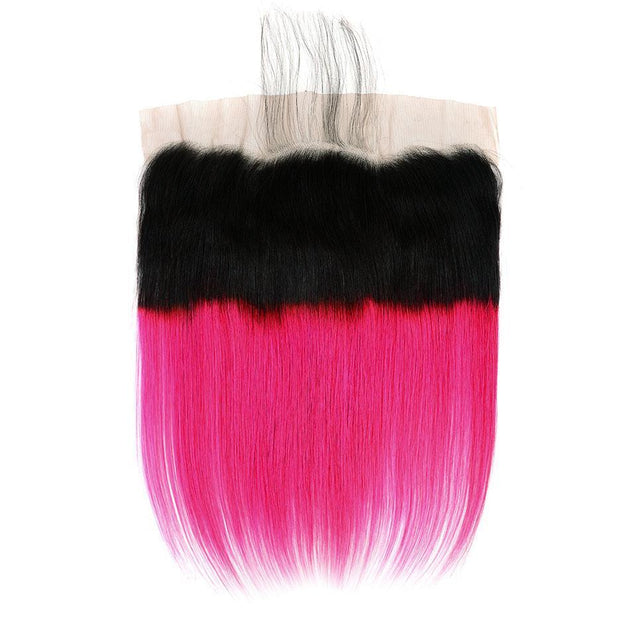 Hot Pink Bundles With Frontal Straight Human Hair Dark Roots