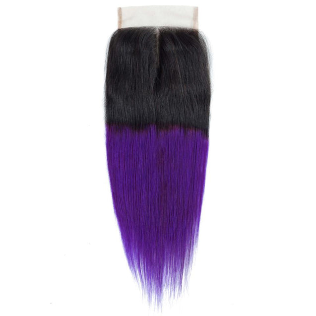 Purple Weave Bundles With Closure Violet Straight Human Hair Dark Roots