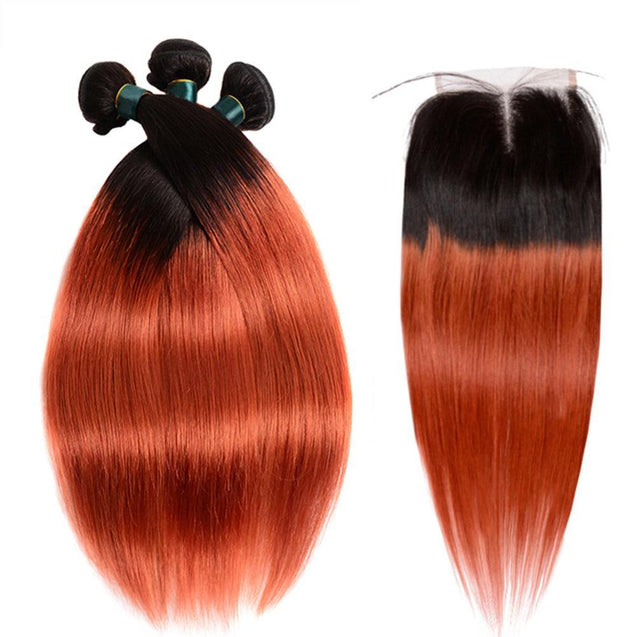 350 Bundles With Closure Burnt Orange Straight Human Hair Dark Roots