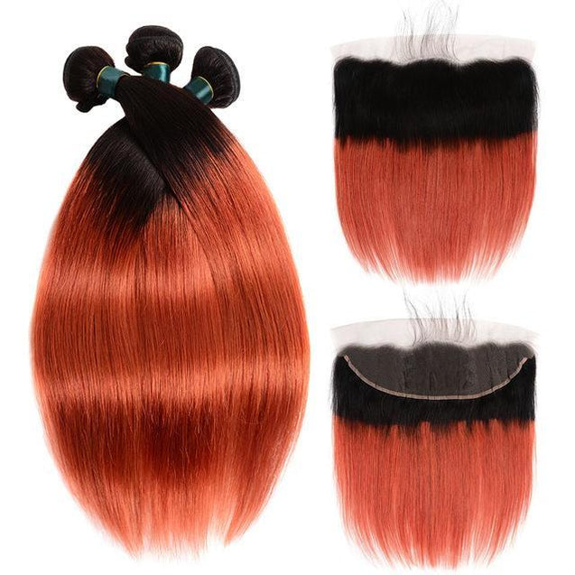 350 Bundles With Frontal Burnt Orange Straight Human Hair Dark Roots