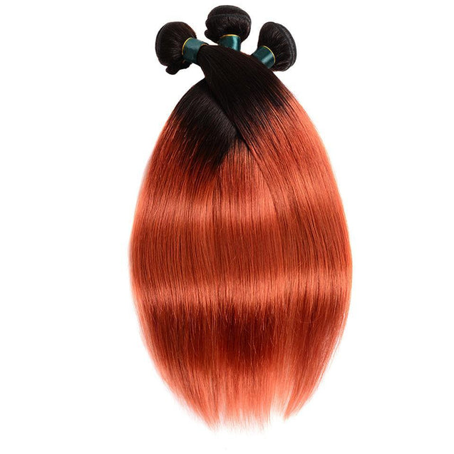 Sulmy 3 Bundles 1b/350 Burnt Orange Two Tone Colored Straight Ombre Brazilian Human Hair Weave.