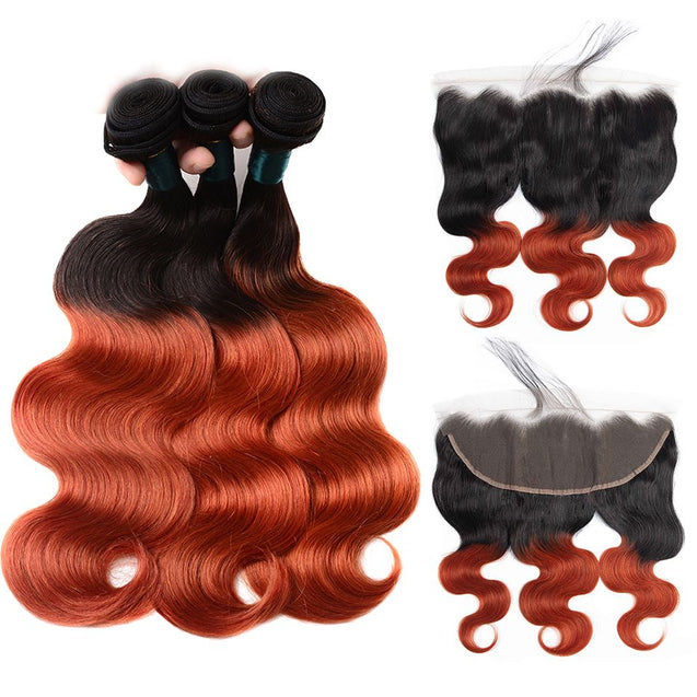 Sulmy 3 Bundles With Frontal Closure 1b 350 Ombre Body wave Brazilian Hair Weave ombre hair weave SULMY