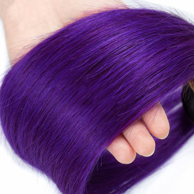 Purple Weave 3 Bundles Ombre Straight Human Hair Dark Roots