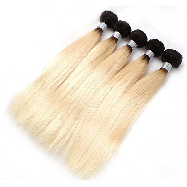Sulmy 3 Bundles 1b/Blonde Two Tone Colored Straight Ombre Brazilian Human Hair Weave ombre hair weave SULMY