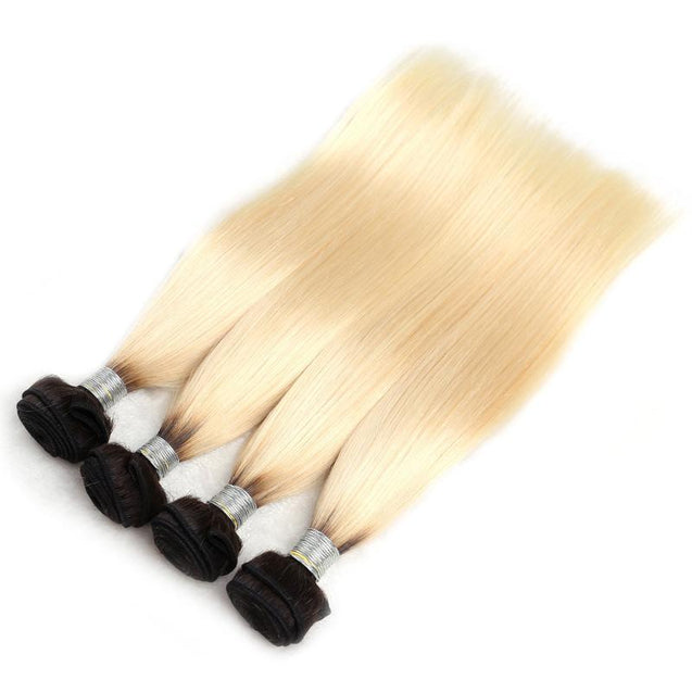 Black Roots 613 Hair Weave 3 Bundles Deals Ombre Blonde Straight Human Hair