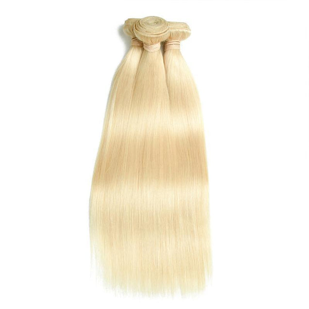 613 Bundles With Frontal Straight Honey Blonde Hair Weave With Lace Frontal