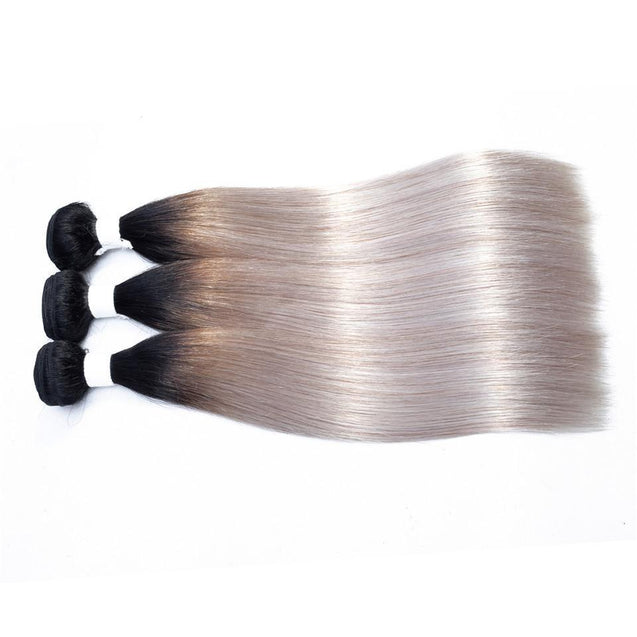Sulmy 3 Bundles With Closure 1b grey Ombre Straight Brazilian Hair Weave ombre hair weave SULMY