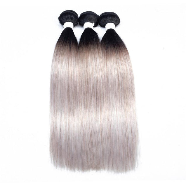 Sulmy 3 Bundles 1b/grey Two Tone Colored Straight Ombre Brazilian Human Hair Weave.