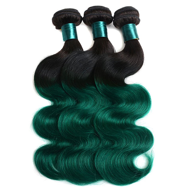 Sulmy 3 Bundles 1b/Green Two Tone Colored Body wave Ombre Brazilian Human Hair Weave ombre hair weave SULMY