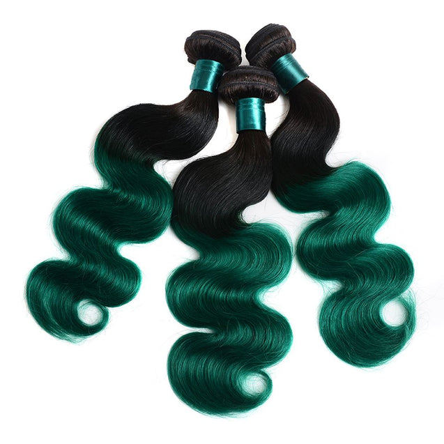 Sulmy 3 Bundles With Frontal Closure 1b Green Ombre Body wave Brazilian Hair Weave ombre hair weave SULMY