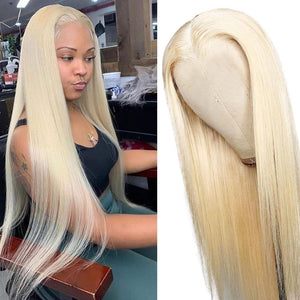 613 Wigs Human Hair Light Blonde Straight Lace Front Colored Wigs SULMY.