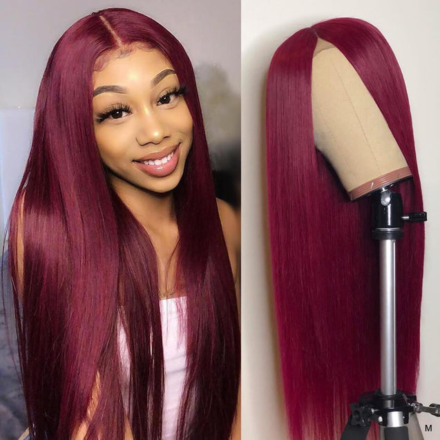 99j/Burgundy Wigs Human Hair Pre-colored Straight Lace Front Wigs