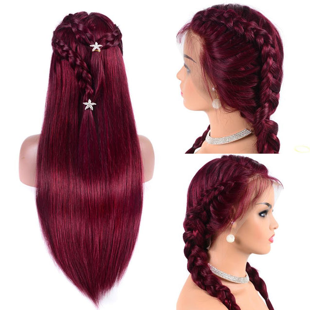 99j/Burgundy Wigs Human Hair Pre-colored Straight Lace Front Wigs SULMY.