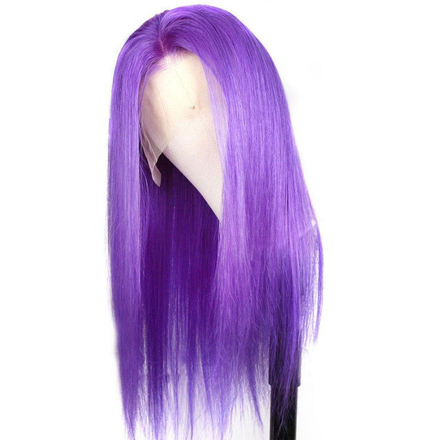 Purple Lace Closure Wigs Human Hair Long Lavender Colored Wigs.