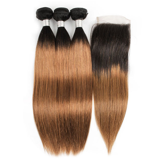 Sulmy 3 Bundles With Closure 1b #30 Ombre straight Brazilian Hair Weave.