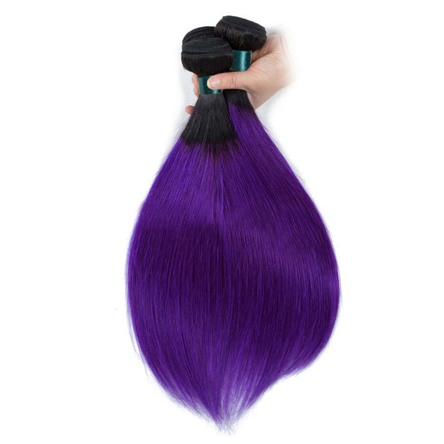 Sulmy 3 Bundles With Closure 1b Purple Ombre Straight Brazilian Hair Weave ombre hair weave SULMY
