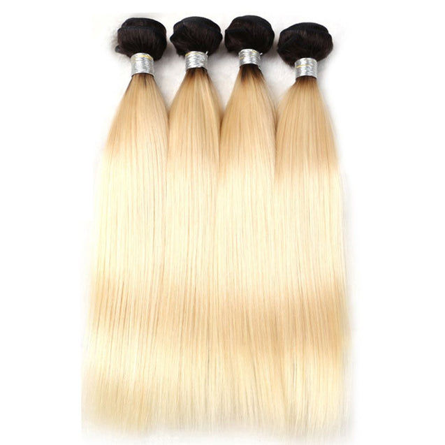 Sulmy 3 Bundles With Frontal Closure 1b Blonde Ombre Straight Brazilian Hair Weave ombre hair weave SULMY
