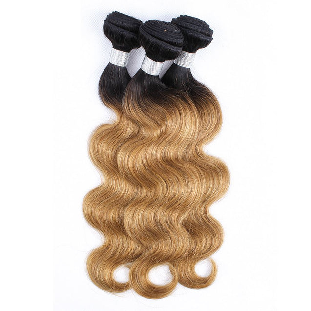 Sulmy 3 Bundles 1b/#27 Two Tone Colored body wave Ombre Brazilian Human Hair Weave.