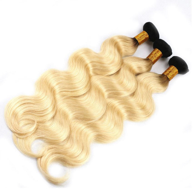 Sulmy 1 Bundle 1b/Blonde Two Tone Colored Body wave Ombre Brazilian Human Hair Weave.