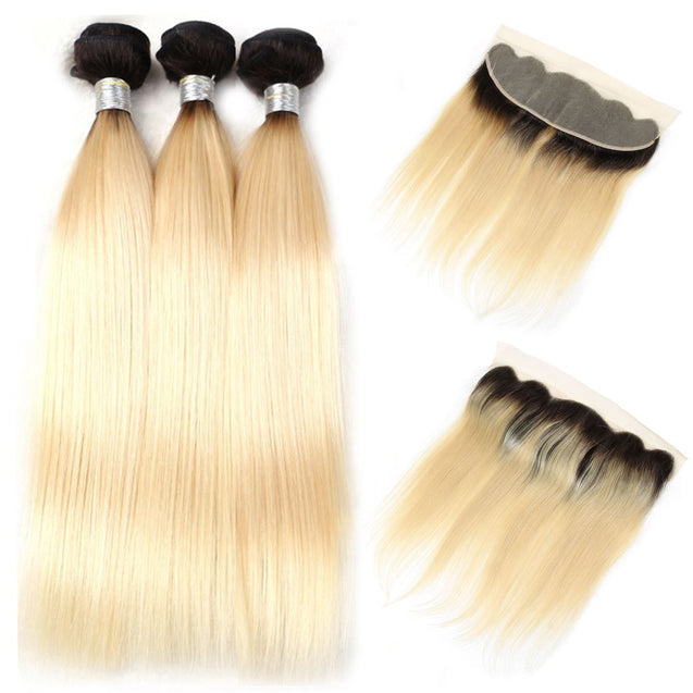 Ombre 613 Bundles With Frontal Straight Blonde Human Hair Dark Roots